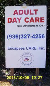 Escapees CARE Adult Day Care sign