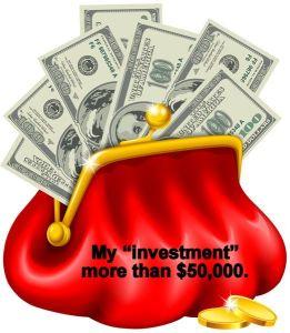 Money bills in red purse